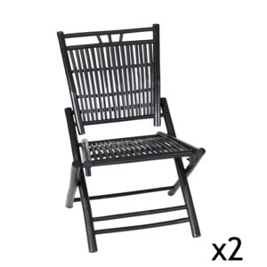 2 Chaises pliables en bambou noir Bondi