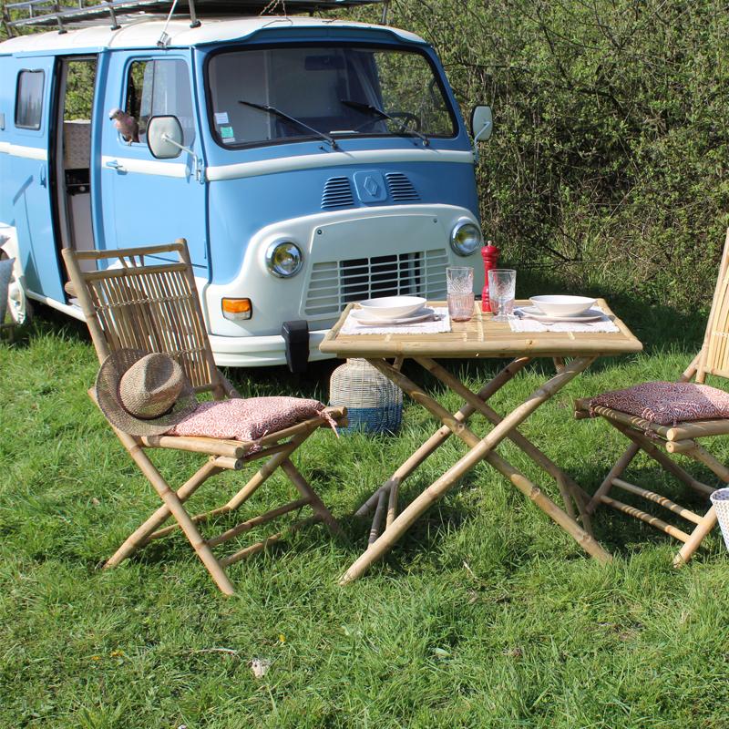 2 Chaises pliables en bambou Bondi