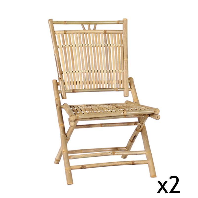Ensemble de 2 Chaises pliables en Bambou BONDI