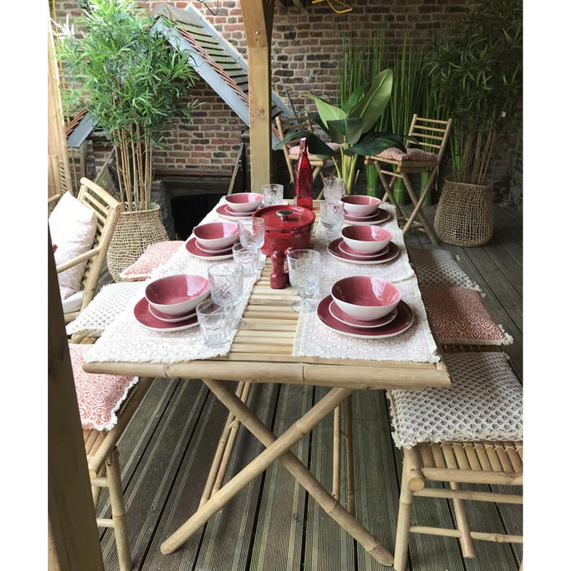 Ensemble Table et Bancs en Bambou BONDI Ambiance