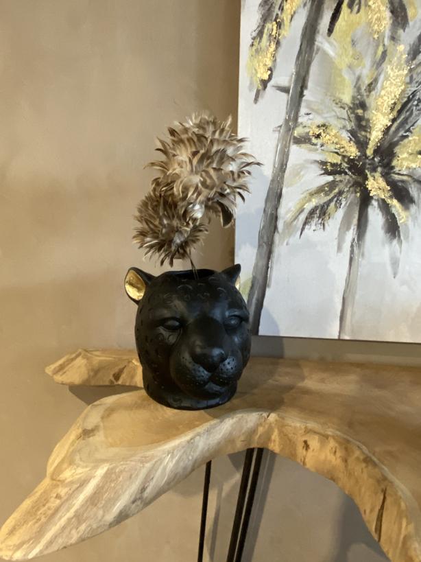 Vase Panthère Noir et Or Ambiance