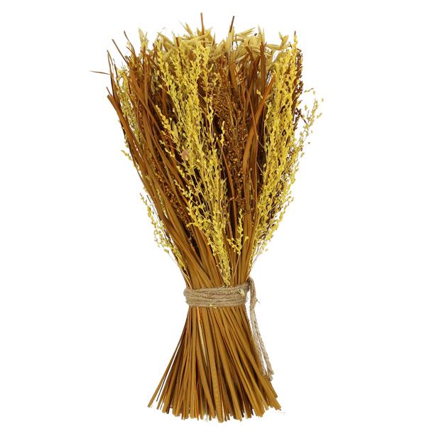 Bouquet de Fleurs Séchées Coloris Bouton d'Or et Avoine