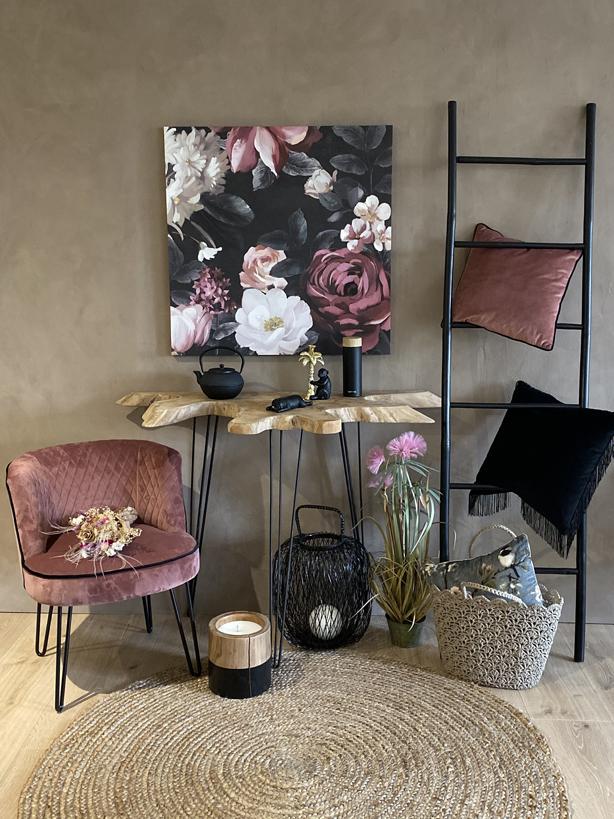 Coussin en Velours Lisse Rose et Noir GRAMY Ambiance