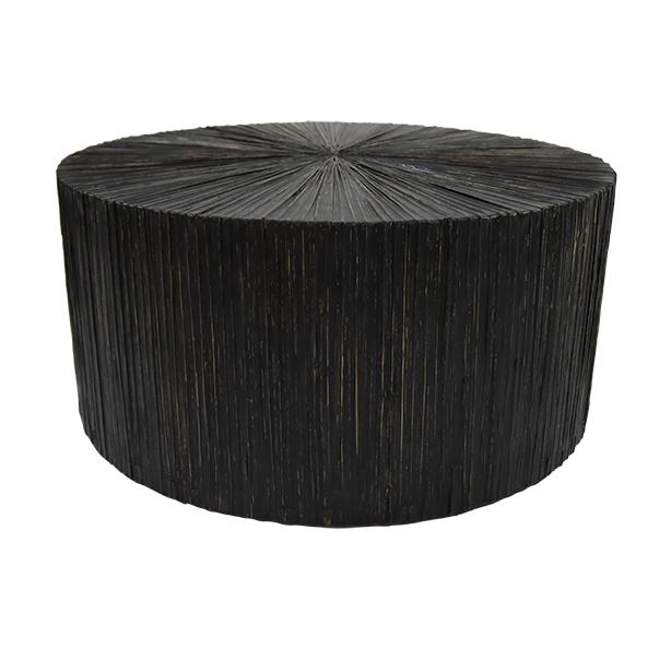 Table basse en Bois et Feuille de Cocotier Ø 75cm TUPAI