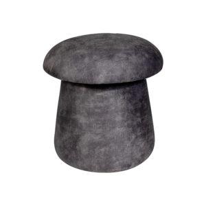 Pouf en velours de couleur gris MUSE