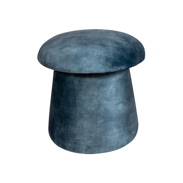Pouf en velours bleu MUSE